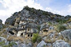 Famous rock-cut Lycian tombs in Myra (Demre), Turkey Stock Photos