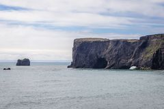 Cape Dyrholaey in Iceland. Famous rock of Dyrholaey foreland located on the south coast of Iceland stock photos