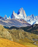 Famous rock Fitz Roy peaks in the Andes Stock Image