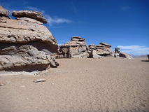 Famous rock formation arbol de piedra in bolivian altiplano desert. The famous rock formation arbol de piedra in bolivian altiplano desert Stock Images