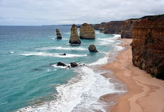 The famous rock formations called Twelve Apostles on Great Ocean Road Stock Image