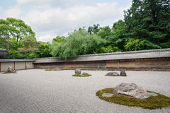 Famous Rock Garden Ryoanji in Kyoto Stock Photo