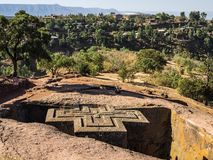 Lalibela, Ethiopia. Famous Rock-Hewn Church of Saint George - Bete Giyorgis stock photography