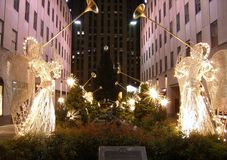 Famous Rockefeller Center Christmas tree as seen from 5th Avenue Stock Photos