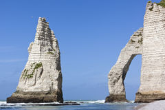 Famous rocks at the beach of Etretat Stock Photos