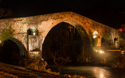 Famous Roman bridge in the city of Cangas de Onis, Asturias, Spa Stock Image