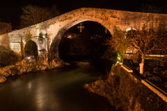 Famous Roman bridge in the city of Cangas de Onis, Asturias, Spa Royalty Free Stock Photo