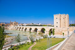 Famous Roman bridge and Guadalquivir river in Cordoba,  Spain. Royalty Free Stock Photo