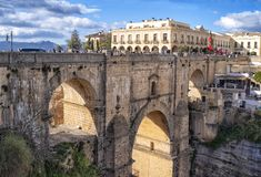 Ronda Roman bridge and canyon, Andalucia, Spain royalty free stock images