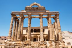 The famous Roman temple of Diana in Merida, province of Badajoz, Extremadura, Spain. royalty free stock image