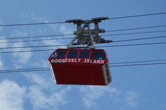 The famous The Roosevelt Island Tramway in New York. NEW YORK - MARCH 30 , 2017: The famous The Roosevelt Island Tramway that spans the East River and connects Royalty Free Stock Images