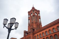 Famous Rotes Rathaus, Meaning Red City Hall In German Language,. Berlin, Germany Stock Photo