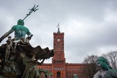 Famous Rotes Rathaus, Meaning Red City Hall In German Language,. Berlin, Germany Royalty Free Stock Photography