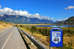 The famous Route 40. Patagonia, southern Argentina. The famous Route 40 paved road parallel to the Andes Royalty Free Stock Images