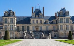 The famous Royal Fontainebleau castle, France Stock Photography