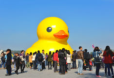 The famous rubber duck is exhibited at the Summer Palace Royalty Free Stock Photos