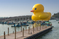 The famous rubber duck is exhibited at the Summer Palace Royalty Free Stock Photography