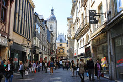 Famous Rue de Gros Horloge on May 3, 2013 in Rouen, France. Stock Photography