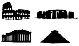 Famous ruins. Illustration of 4 famous tourist attractions: Coliseum in Italy, Stonehenge in England, Parthenon in Greece and Temple of Kukulcan in Mexico Stock Photos