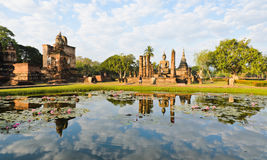 Famous ruins temple in Sukhothai Stock Image