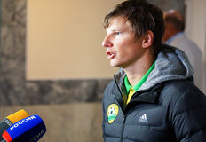Famous russian football player Andrei Arshavin gives interview after the match. Sport, journalist, star, soccer, football stock images
