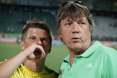 Famous russian football player Andrei Arshavin with press attache fc kuban Vyacheslav Ivanov after the football match. Soccer, football, stadium, match, rpfl royalty free stock photo