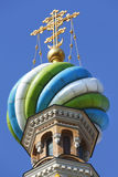 Famous Russian landmark. Found in St. Petersburg, Church on Spilled Blood with gold religious cross Stock Images