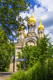 Famous russian orthodox church with golden copula Stock Photography