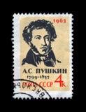 Pushkin Alexander, famous russian poet, writer, circa 1962, Royalty Free Stock Images