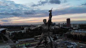 Famous Russian sculpture worker and collective farmer in capital in Moscow. stock footage