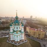 Famous saint Andrew`s church and panorama of Kiev, Ukraine Stock Photography