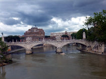 Famous Saint Angel castle and bridge over Tiber ri Royalty Free Stock Photography