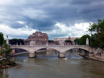 Famous Saint Angel castle and bridge over Tiber ri Stock Photo
