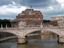 Famous Saint Angel castle and bridge over Tiber ri Royalty Free Stock Images