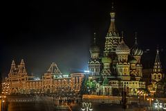 Famous Saint Basil`s Cathedral illuminated in the Evening, Red Square, Moscow royalty free stock photo