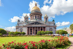 Famous Saint Isaac's Cathedral in St. Petersburg in summer sunny Royalty Free Stock Photography