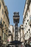 Famous Saint Justice Santa Justa lift in the historic downtown of Lisbon, Portugal. Currently serves as a lookout for tourists. royalty free stock photography
