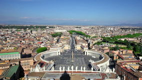 Famous Saint Peter's Square in Vatican. Rome, Italy. Famous Saint Peter's Square in Vatican and aerial view of the city stock video
