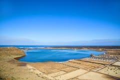 Famous Salinas de Janubio on Lanzarote island, Canary islands, Spain Royalty Free Stock Photos