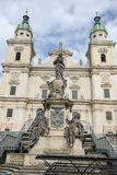 Famous Salzburg Cathedral at Domplatz, Salzburg Land, Austria. Famous Salzburg Cathedral at Domplatz in Salzburg Land on Austria stock photos