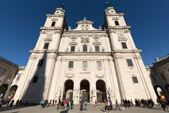 Famous Salzburg Cathedral Salzburger Dom at Domplatz, Royalty Free Stock Images