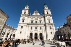 Famous Salzburg Cathedral Salzburger Dom at Domplatz, Stock Photo