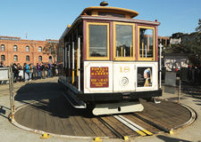 The famous San Francisco cable car on turnaround at Powell and Market Street Royalty Free Stock Images