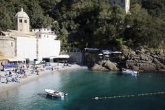 The famous San Fruttuoso Abbey view, Genova, Liguria, Italy, Europe stock photo
