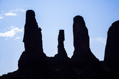 Famous sandstone Rocks called Three Sisters Butte in monument va Royalty Free Stock Photos