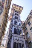Famous Santa Justa Elevator in Lisbon Stock Photos