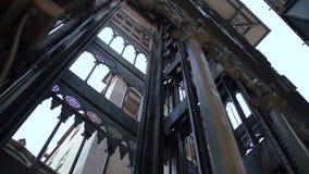 Famous Santa Justa Elevator in Lisbon stock footage