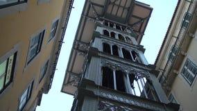 Famous Santa Justa Elevator in Lisbon stock video
