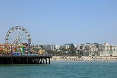 The famous Santa Monica Pier in California. USA Royalty Free Stock Images