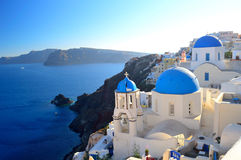 Famous Santorini blue dome churches at Oia, Santorini, Cyclades, Royalty Free Stock Images